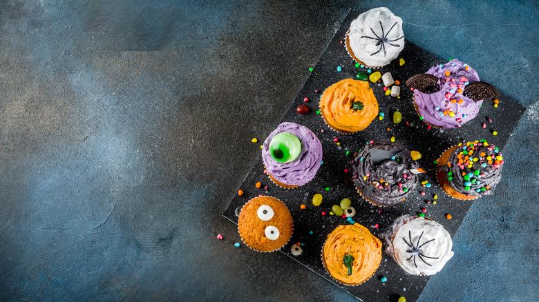 Halloween cupcakes on slate