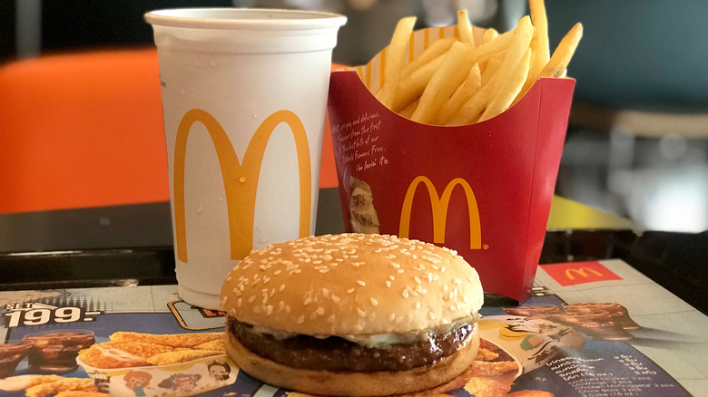 McDonald's hamburger, fries, and drink