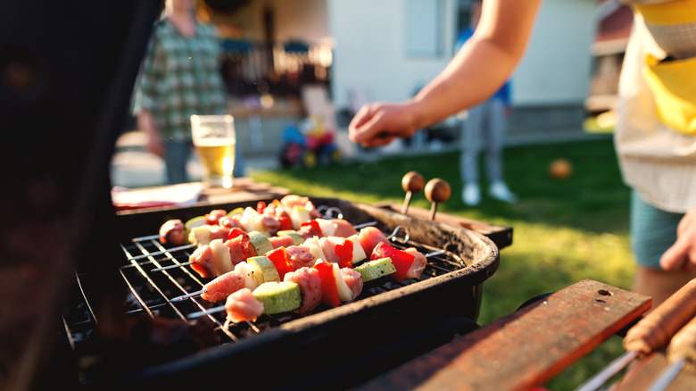 kebabs on an outdoor grill