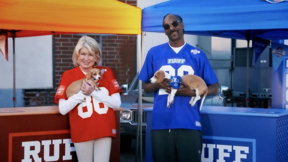 Snoop Dogg and Martha Stewart at Puppy Bowl