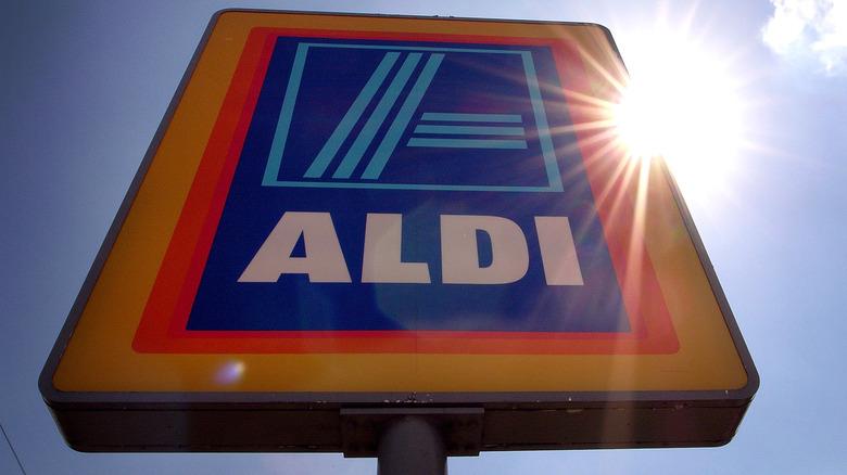 Aldi sign in the sunshine
