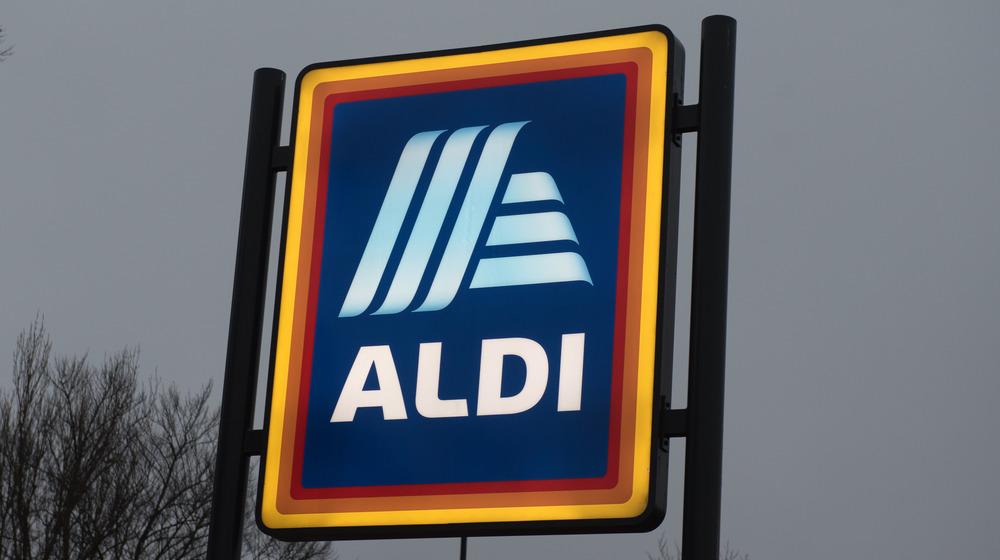 Aldi sign against dark sky