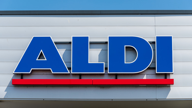 Extra Large Aldi sign over a store
