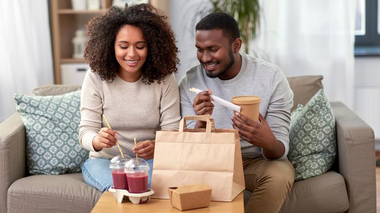couple enjoying takeout