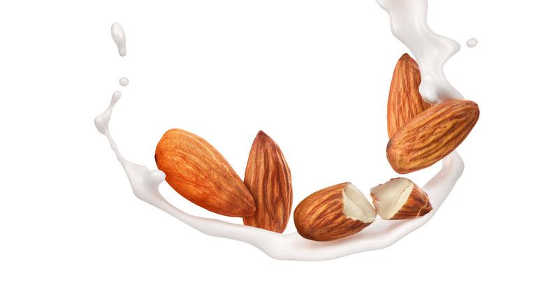 Almonds in a swirl of almond milk