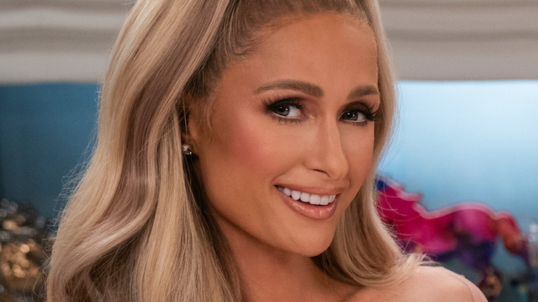 Paris Hilton on set of her cooking show