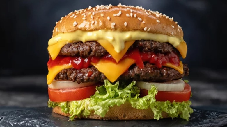 Burger with lots of toppings