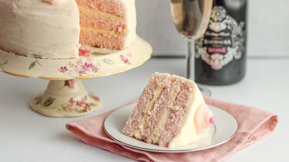 classic pink champagne cake