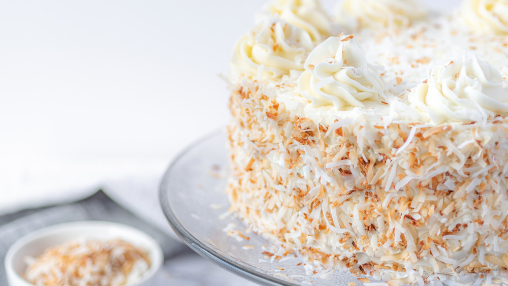 coconut cake recipe served