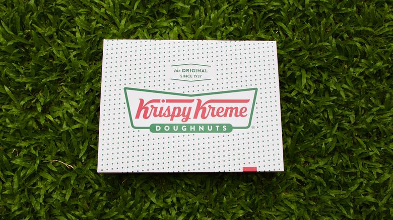 A box of Krispy Kreme doughnuts