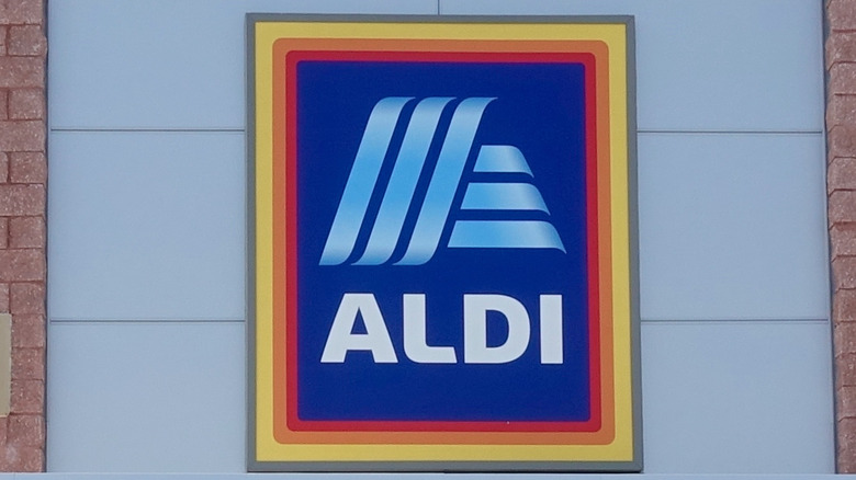 Blue and yellow Aldi store sign