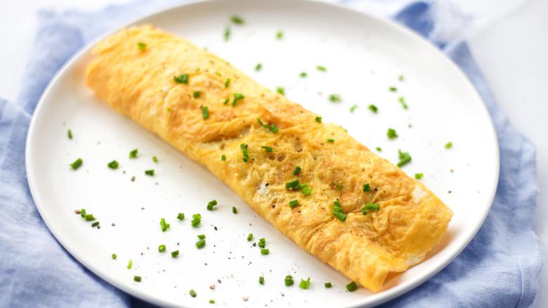 omelete on white plate