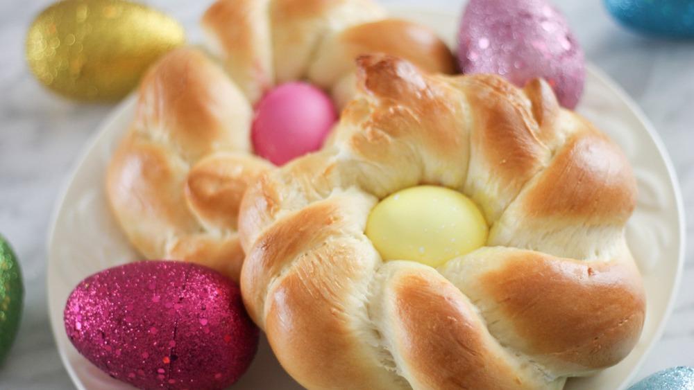 Italian Easter bread on plate