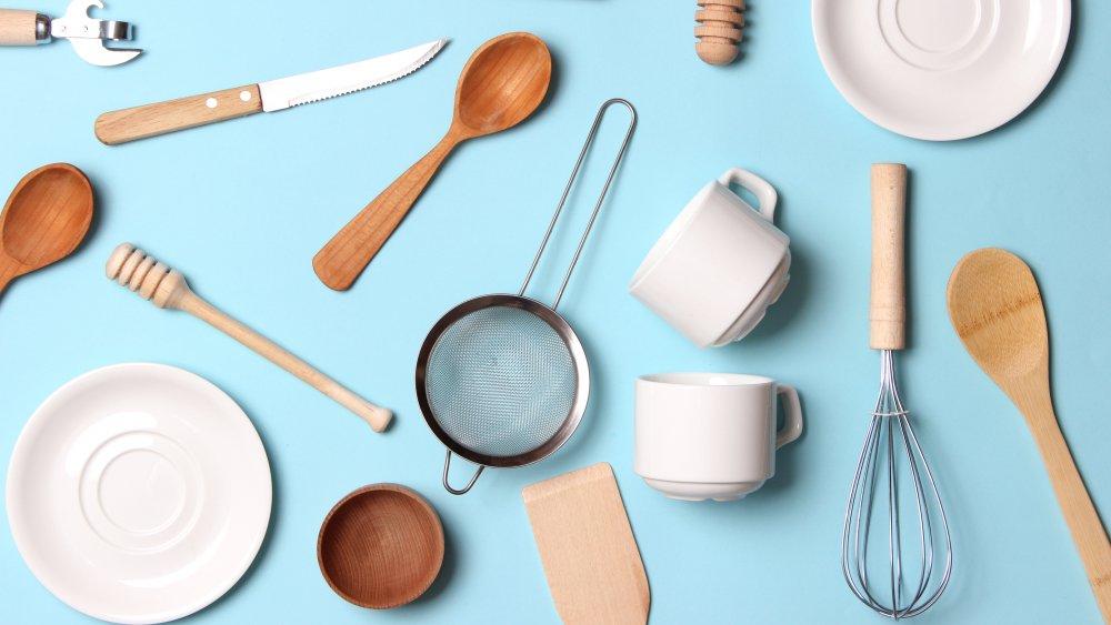 kitchenware on a light blue background