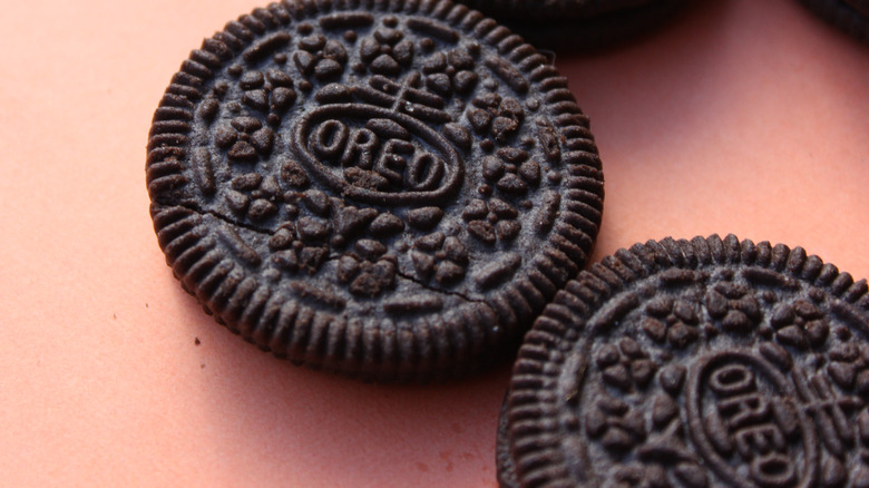 A close-up of Oreo biscuits