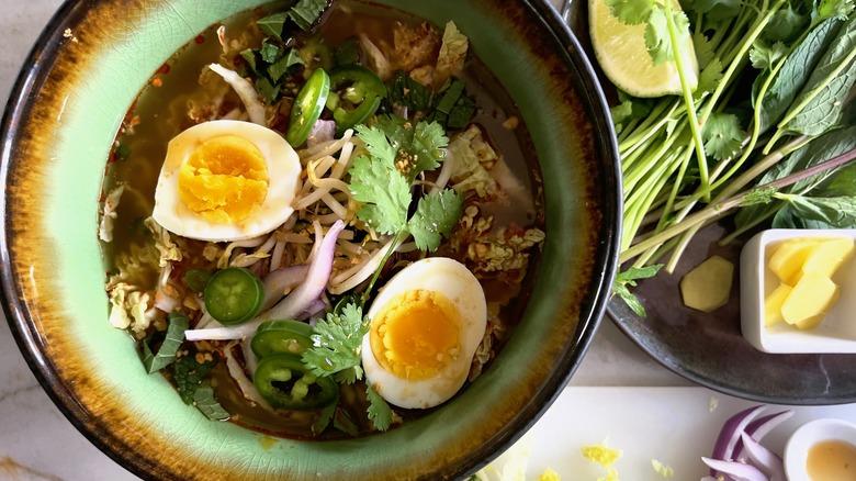 A loaded bowl of ramen soup