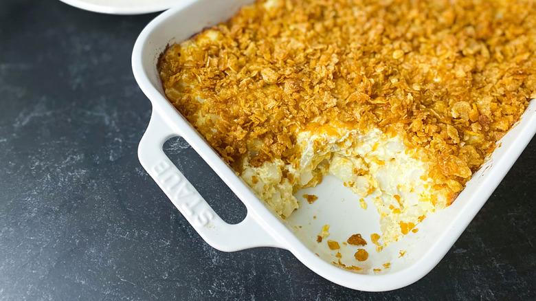 pan of cheddar funeral potatoes