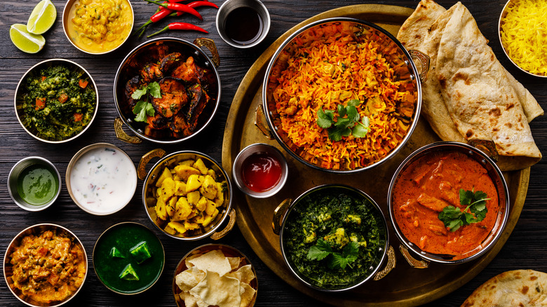 assortment of Indian dishes