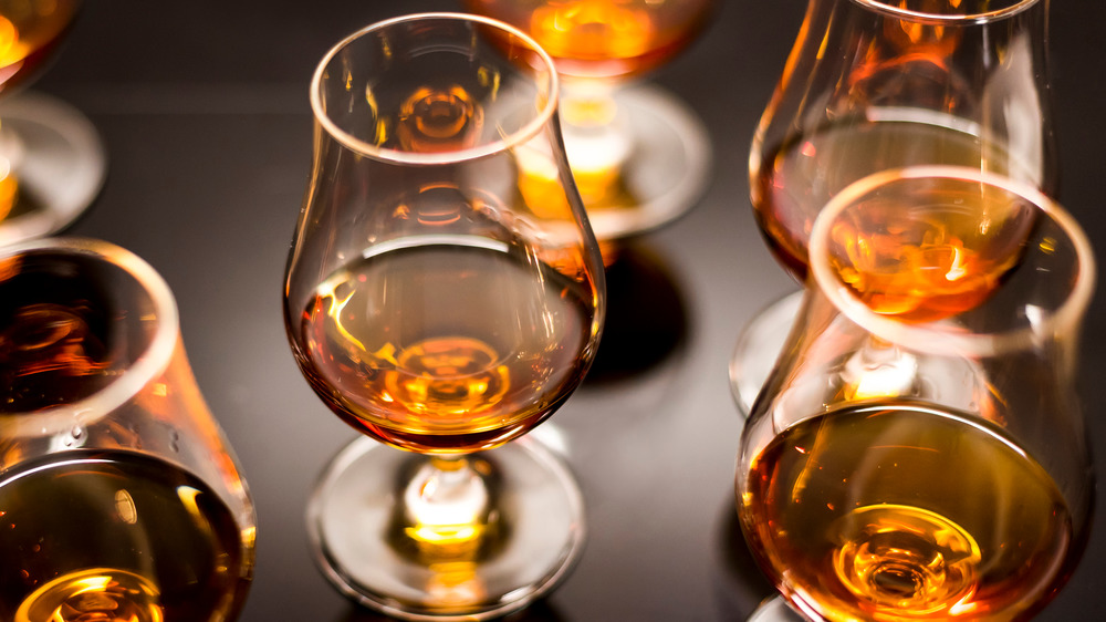 Rum in tasting glasses