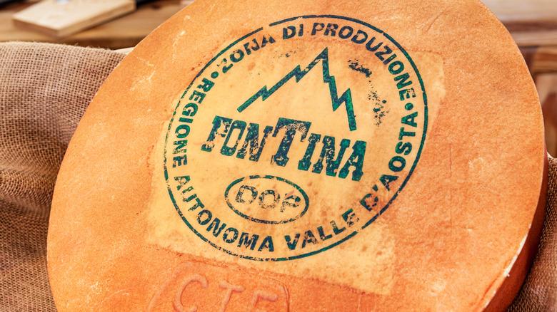 Wheel of Fontina cheese