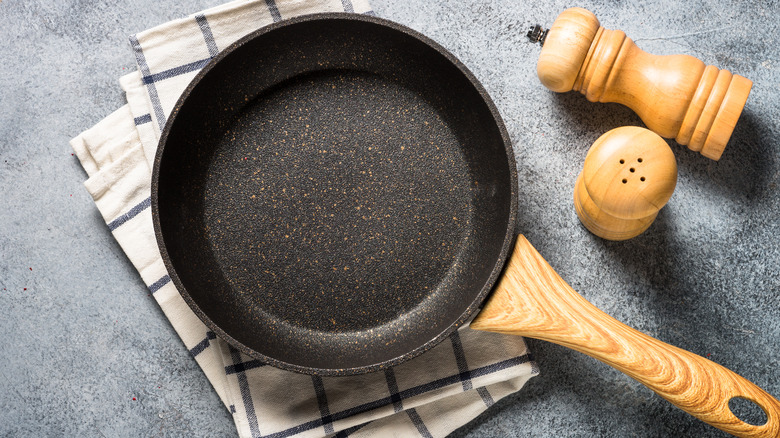 A nonstick pan on a counter