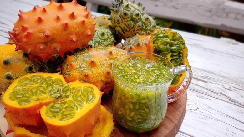 Kiwano fruit on a plate