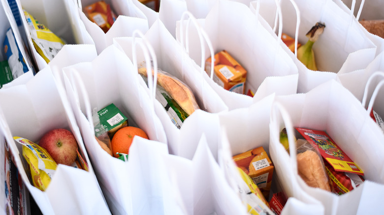Bags of school lunches