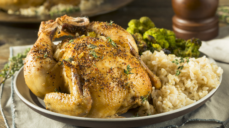 Plate with Cornish game hen, rice, broccoli