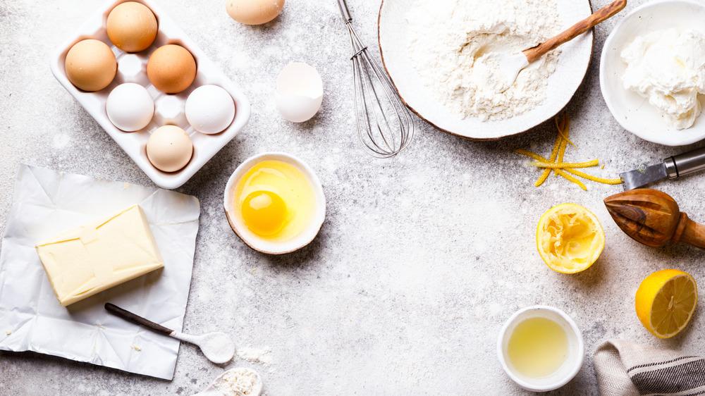 eggs, flour, sugar on a counter