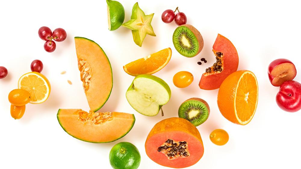 Assortment of fruits like grapes