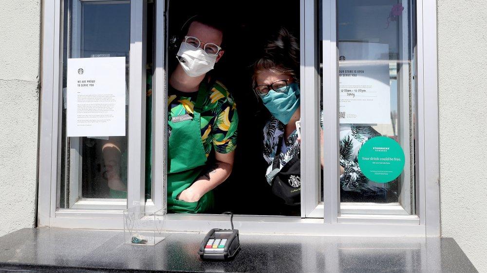 Starbucks employees wear masks