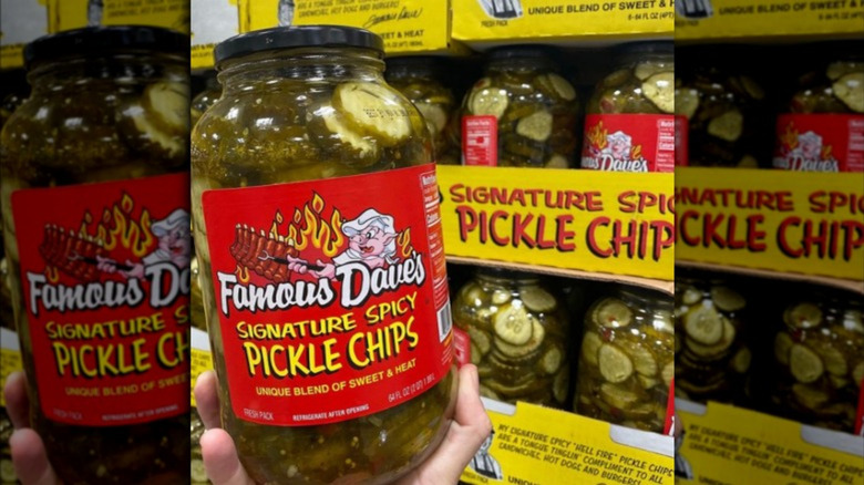Jar of Famous Dave's Signature Spicy pickle chip at Costco