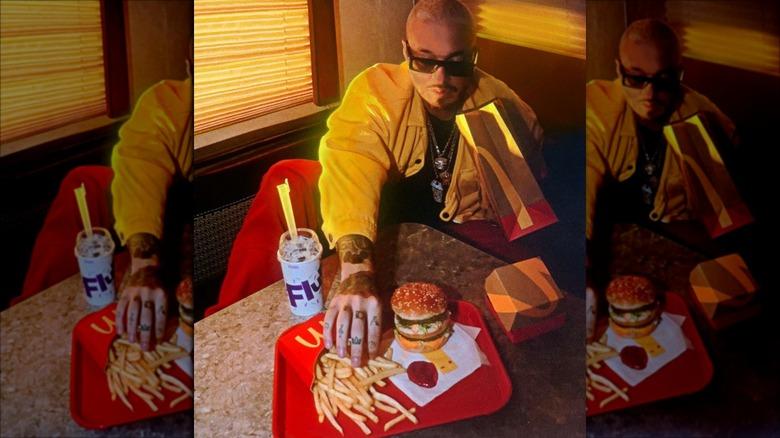 J Balvin with his signature McDonald's meal