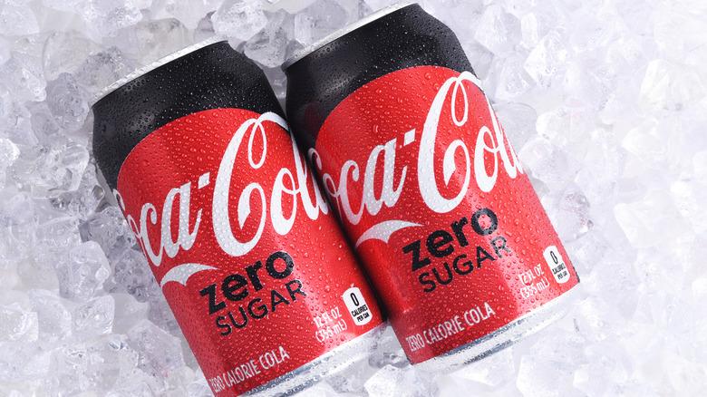 Coke zero sugar can on table