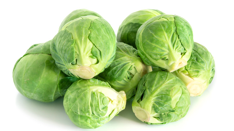 Freshly picked Brussels sprouts