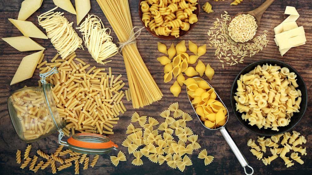Variety of pasta shapes from above