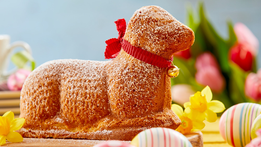 Classic Easter lamb cake with red ribbon