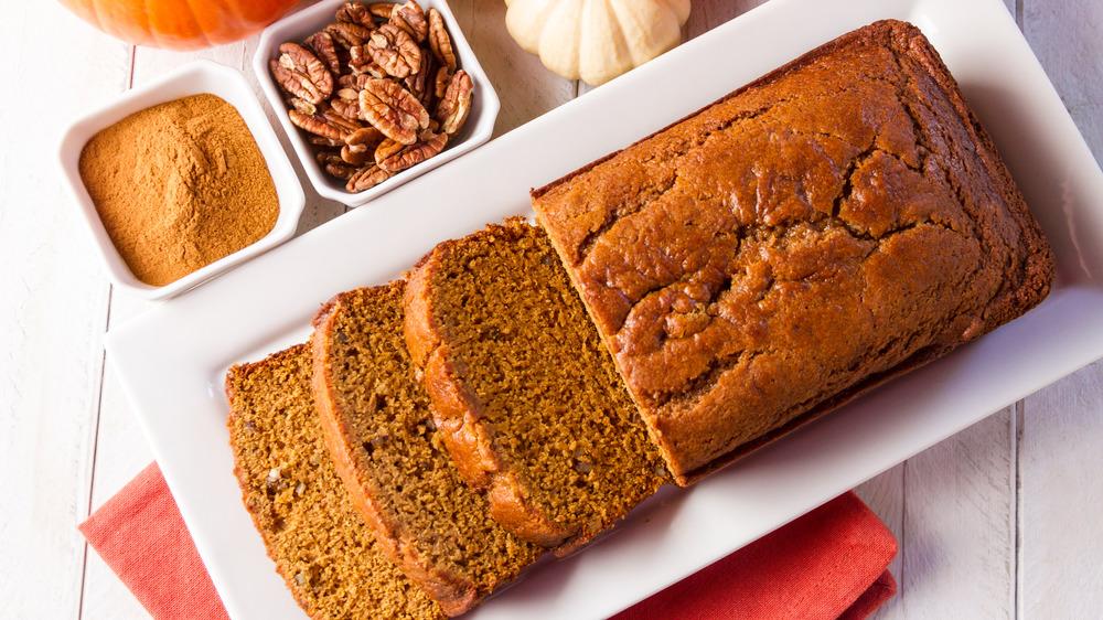 Plate of baked pumpkin bread