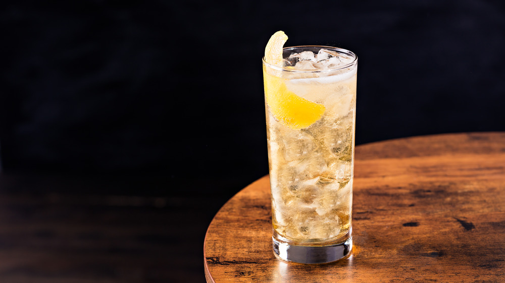 Whiskey highball on a wooden table