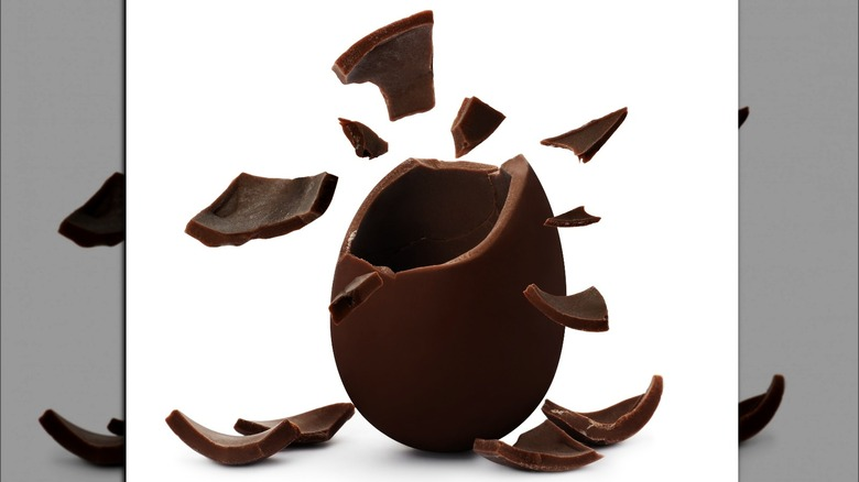 hollow chocolate egg shattering