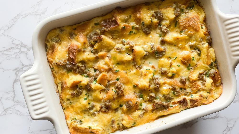 breakfast casserole recipe served