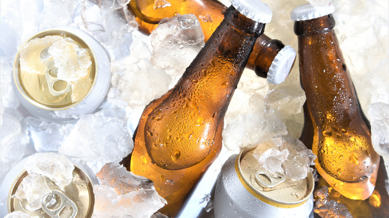 Beer bottles and cans with no labels