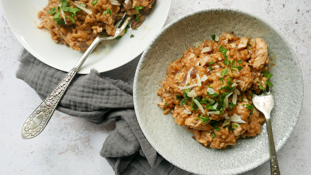 Chicken Risotto served on a plate