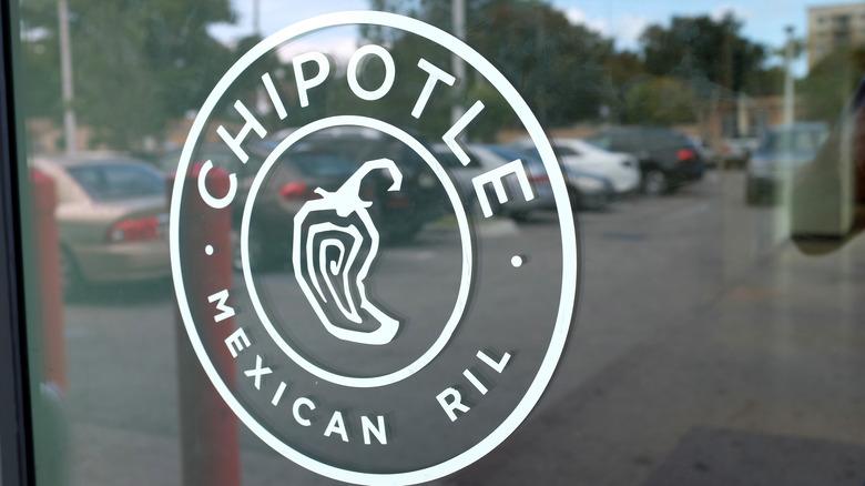 Chipotle logo on window