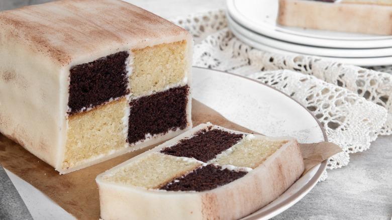 Chocolate Battenberg cake on plate