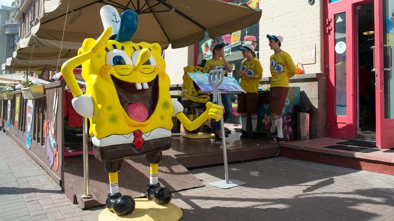 SpongeBob SquarePants holds a spatula
