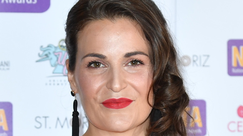 Sophie Faldo in red lipstick