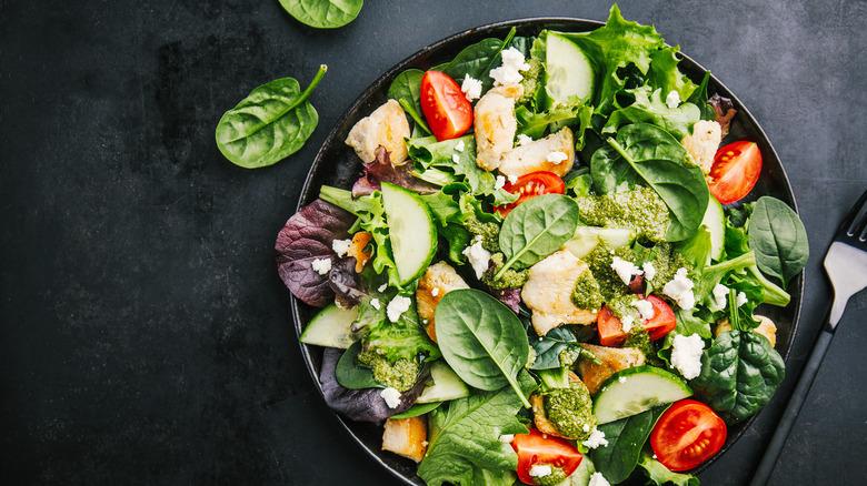 overflowing caesar salad