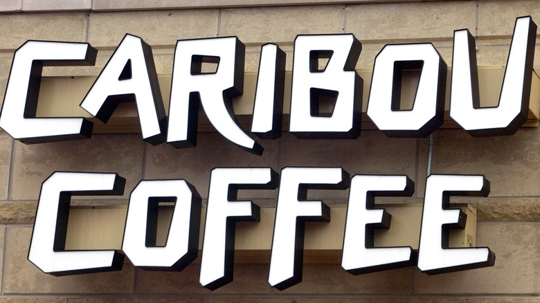 A Caribou Coffee sign