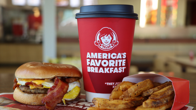 Wendy's breakfast with coffee